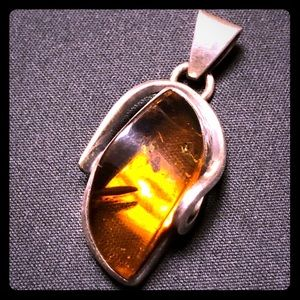 One of a kind!! Amber & Sterling Pendant